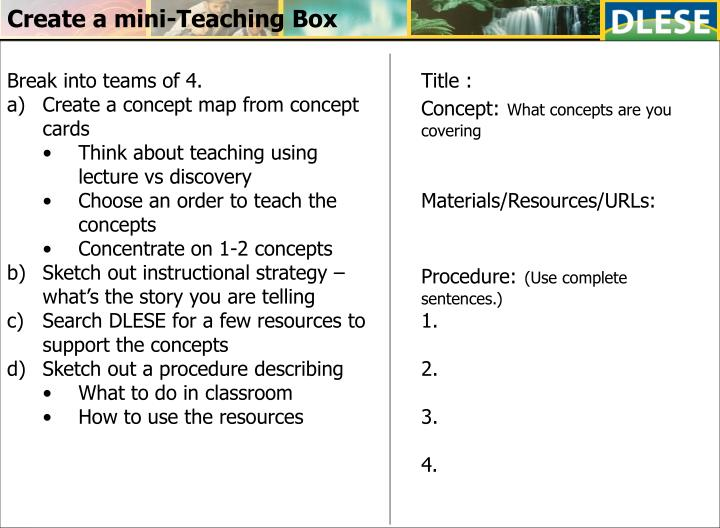 Create a mini-Teaching Box