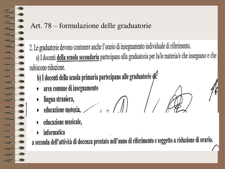 Art. 78 – formulazione delle graduatorie