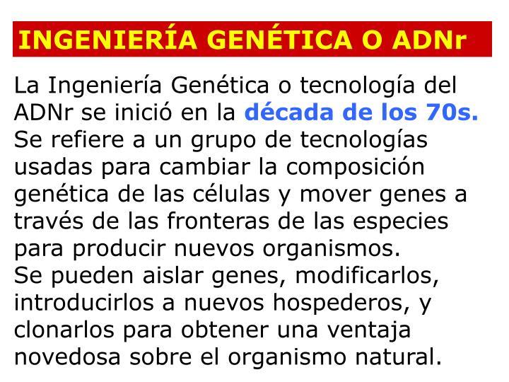 INGENIERÍA GENÉTICA O ADNr