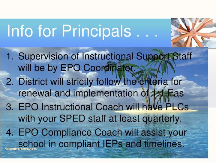 Info for Principals . . .