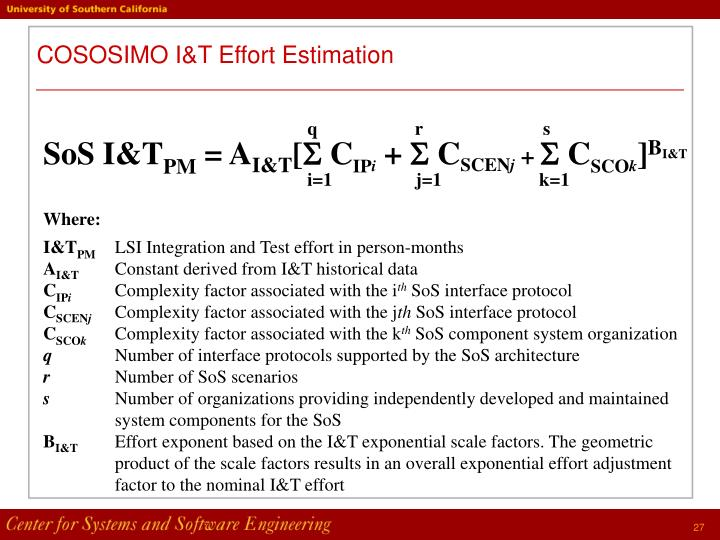 COSOSIMO I&T Effort Estimation
