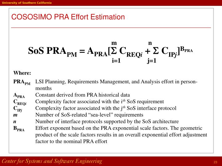COSOSIMO PRA Effort Estimation