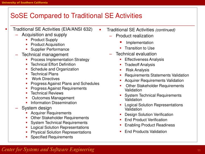 Traditional SE Activities (EIA/ANSI 632)