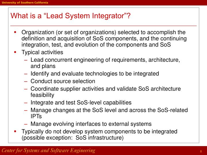 "What is a ""Lead System Integrator""?"
