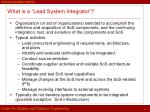 what is a lead system integrator