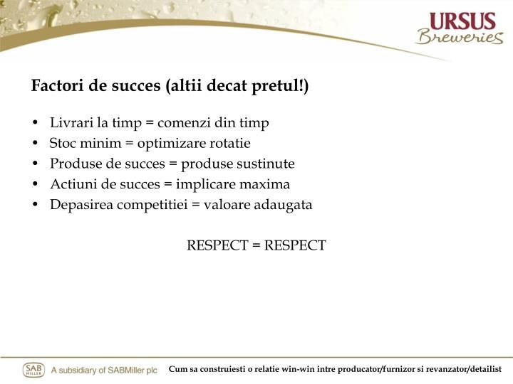 Factori de succes (altii decat pretul!)