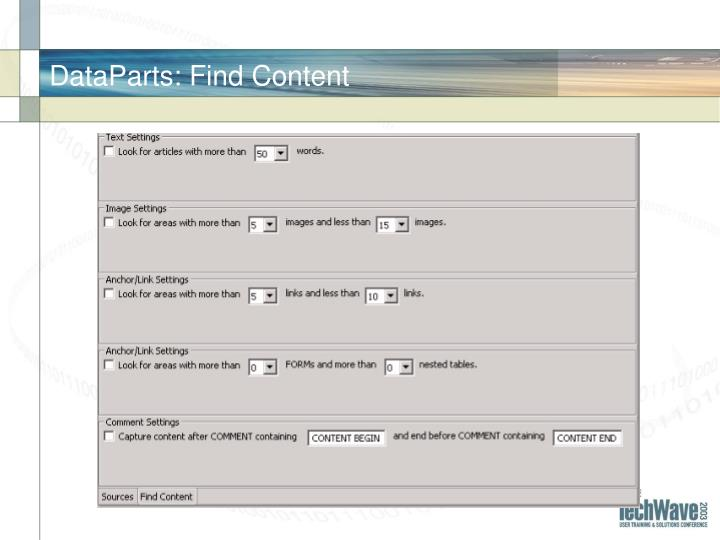 DataParts: Find Content