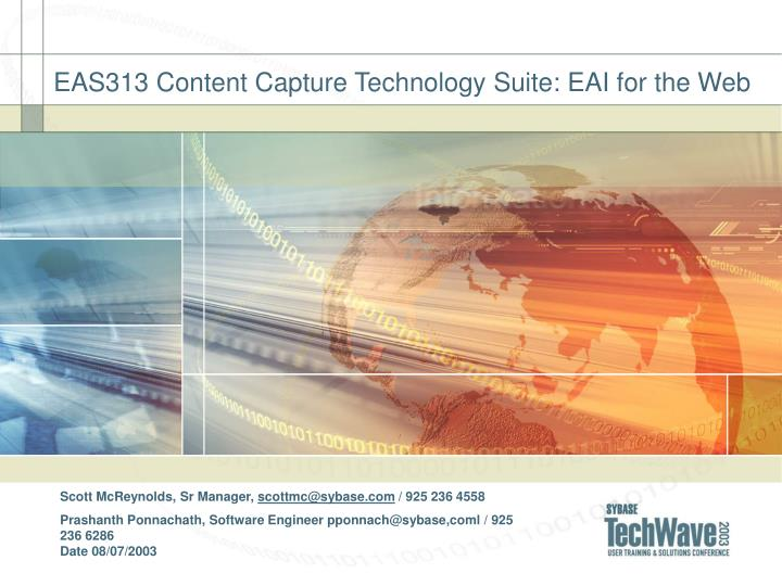 Eas313 content capture technology suite eai for the web