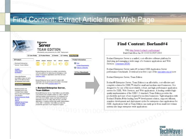 Find Content: Extract Article from Web Page