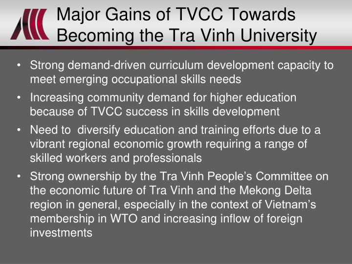 Major Gains of TVCC Towards Becoming the Tra Vinh University
