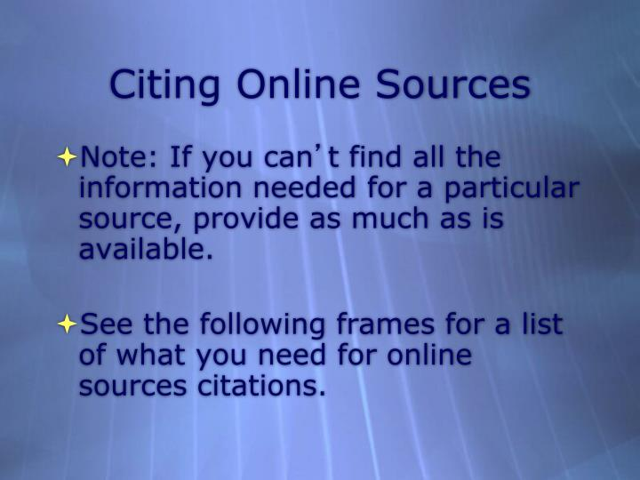 Citing Online Sources