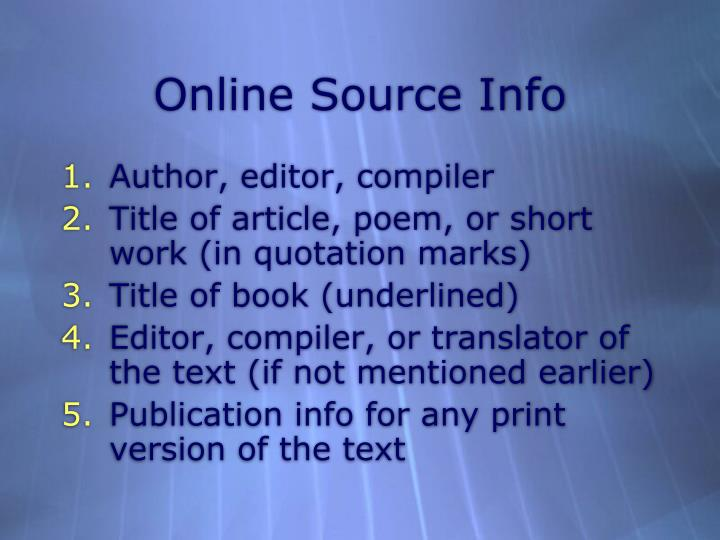 Online Source Info