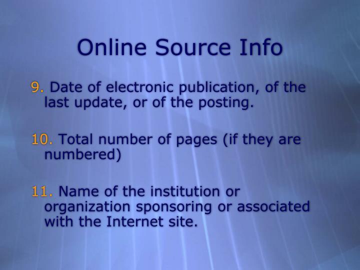 Online Source Info