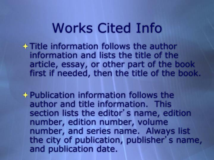 Works Cited Info