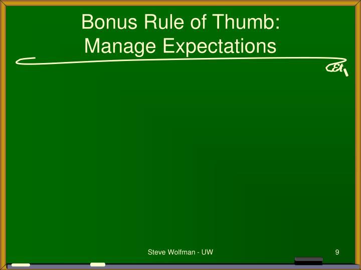 Bonus Rule of Thumb: