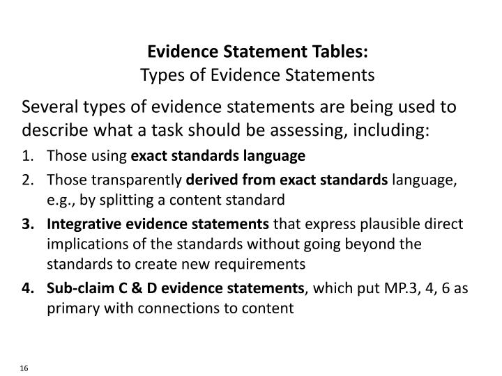 Evidence Statement Tables:
