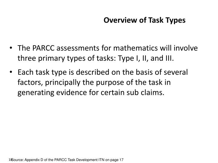 Overview of Task Types