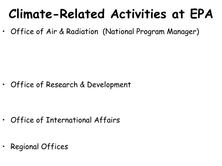 Climate related activities at epa1