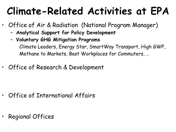 Climate-Related Activities at EPA