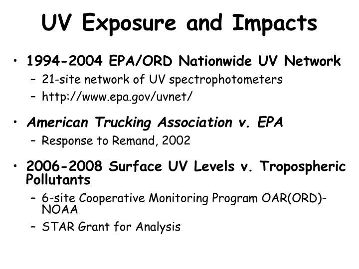 UV Exposure and Impacts