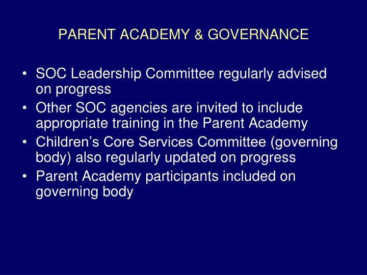 PARENT ACADEMY & GOVERNANCE