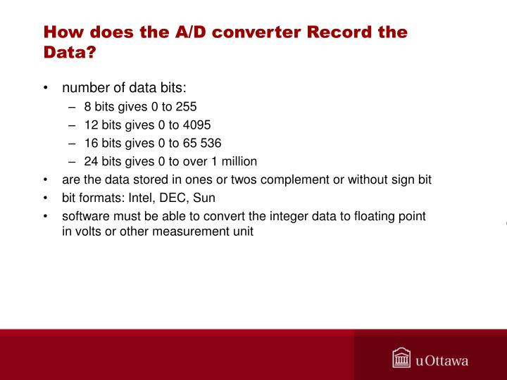 How does the A/D converter Record the Data?