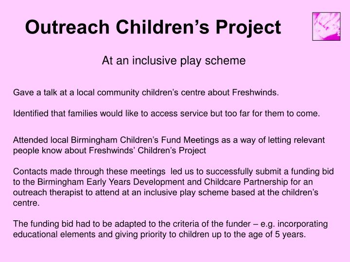 Outreach Children's Project