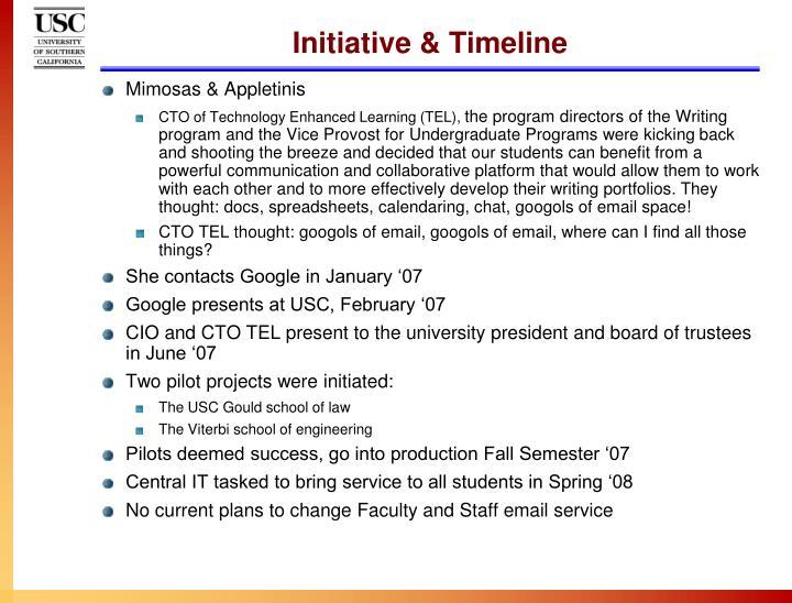 Initiative & Timeline