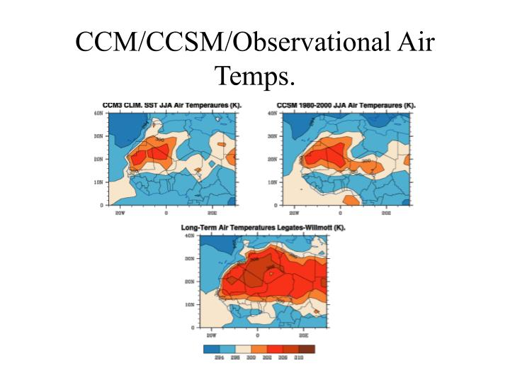 CCM/CCSM/Observational Air Temps.