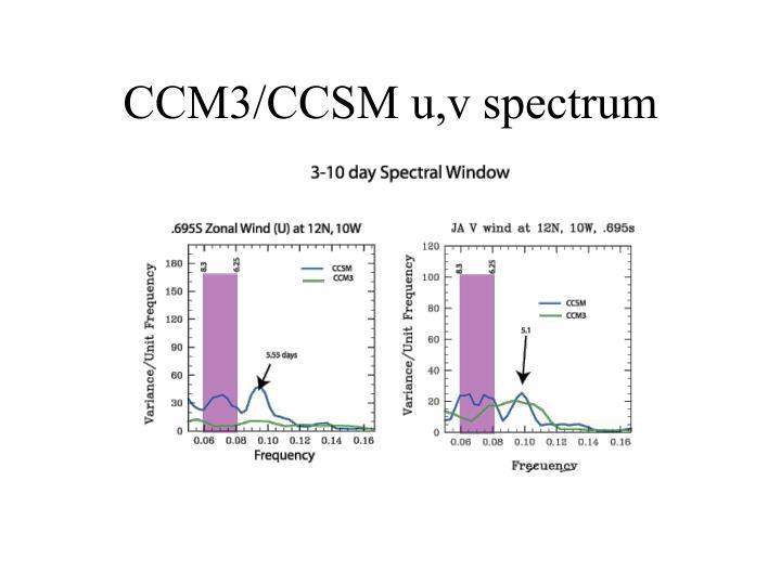CCM3/CCSM u,v spectrum