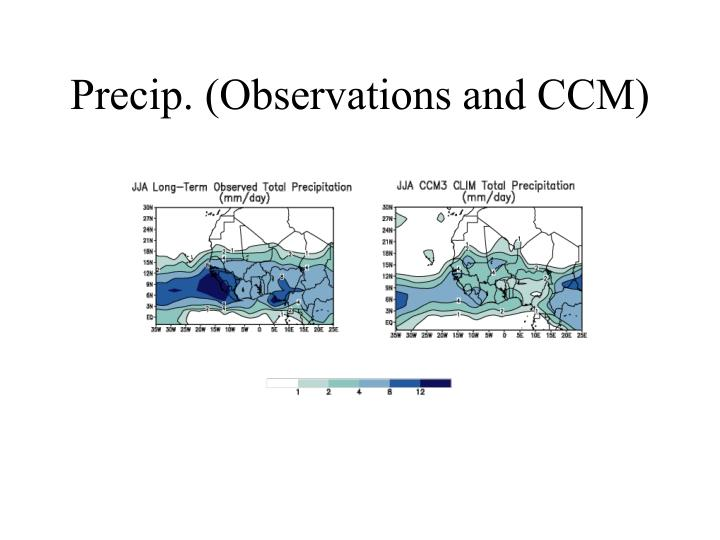 Precip. (Observations and CCM)