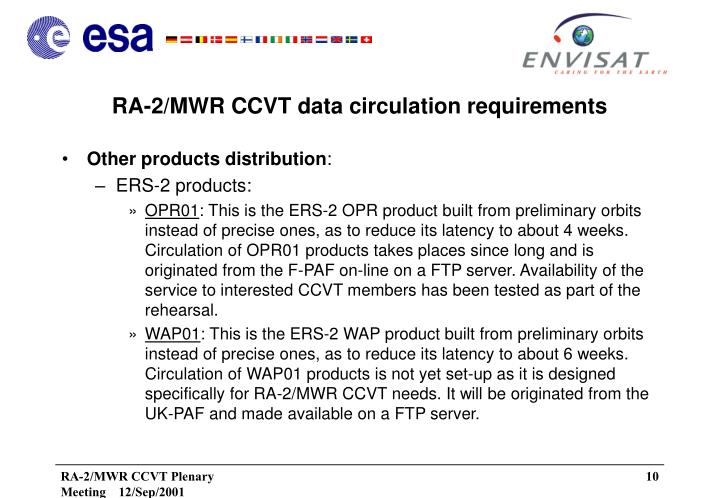 RA-2/MWR CCVT data circulation requirements