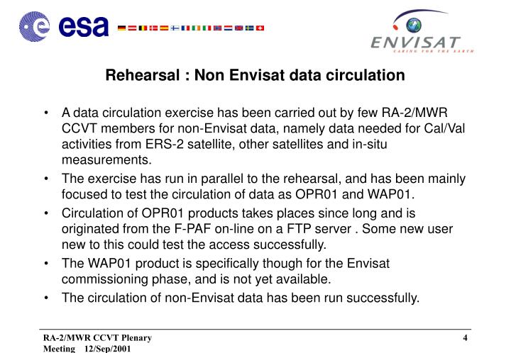Rehearsal : Non Envisat data circulation