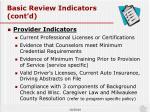 basic review indicators cont d