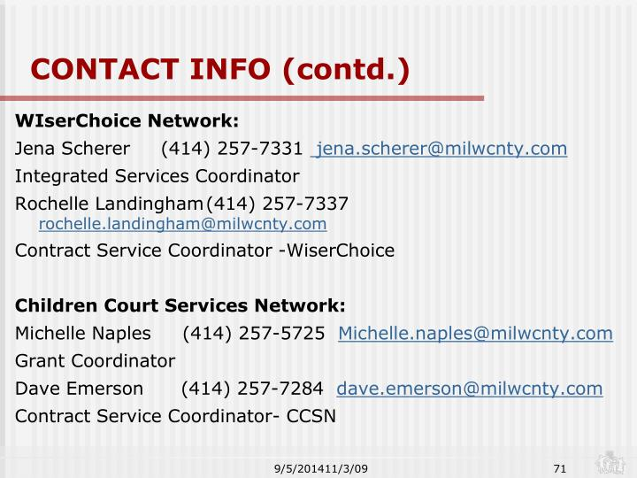 CONTACT INFO (contd.)