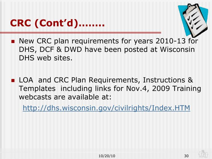 CRC (Cont'd)……..