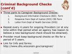 criminal background checks cont d