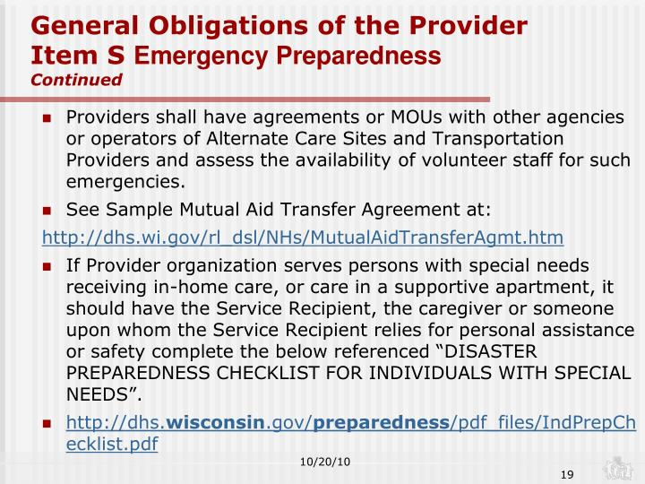 General Obligations of the Provider