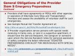 general obligations of the provider item s emergency preparedness continued