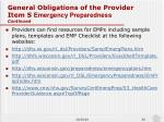general obligations of the provider item s emergency preparedness continued1