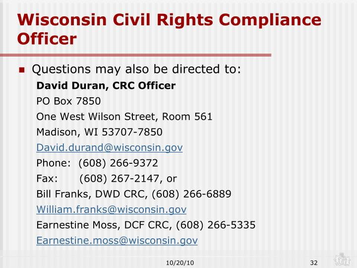 Wisconsin Civil Rights Compliance Officer
