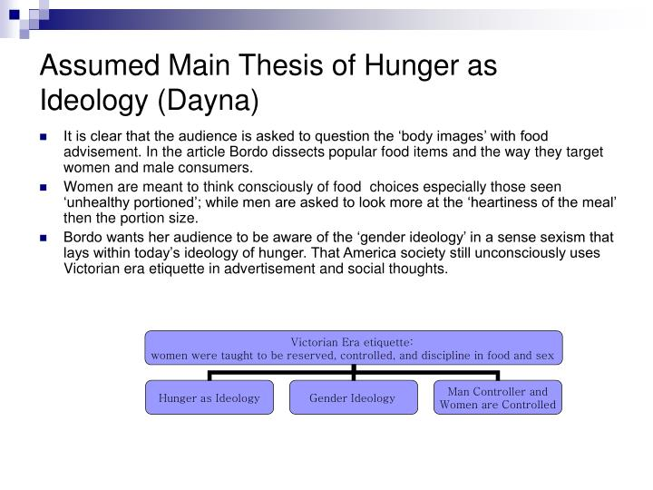 Assumed Main Thesis of Hunger as Ideology (Dayna)