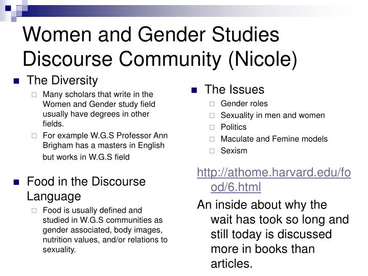 Women and gender studies discourse community nicole