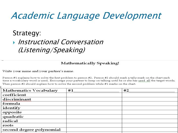Academic Language Development