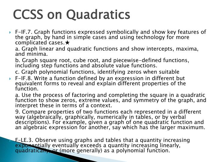 CCSS on Quadratics