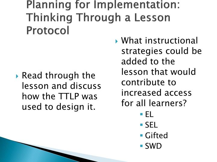 Planning for Implementation: Thinking Through a Lesson Protocol