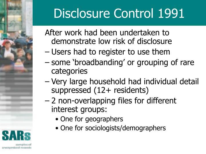 Disclosure Control 1991