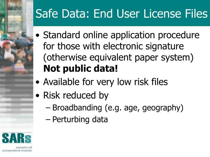 Safe Data: End User License Files