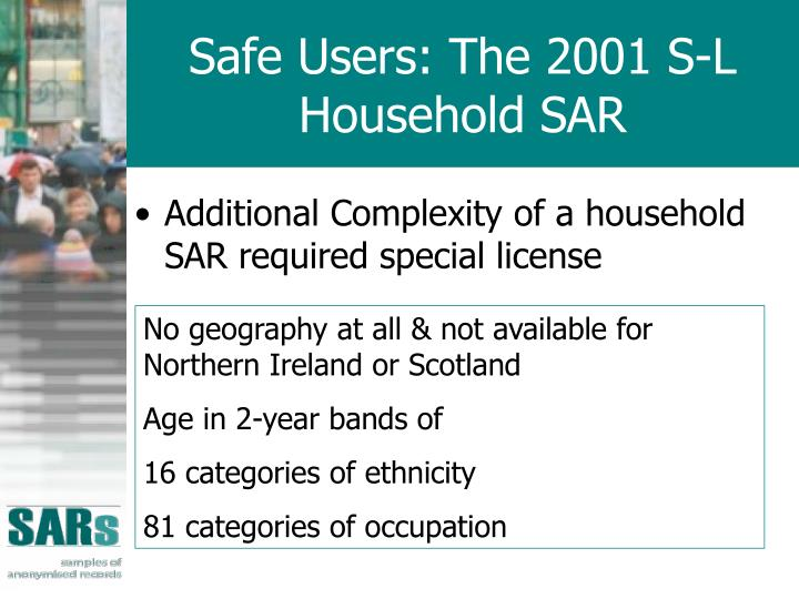 Safe Users: The 2001 S-L Household SAR