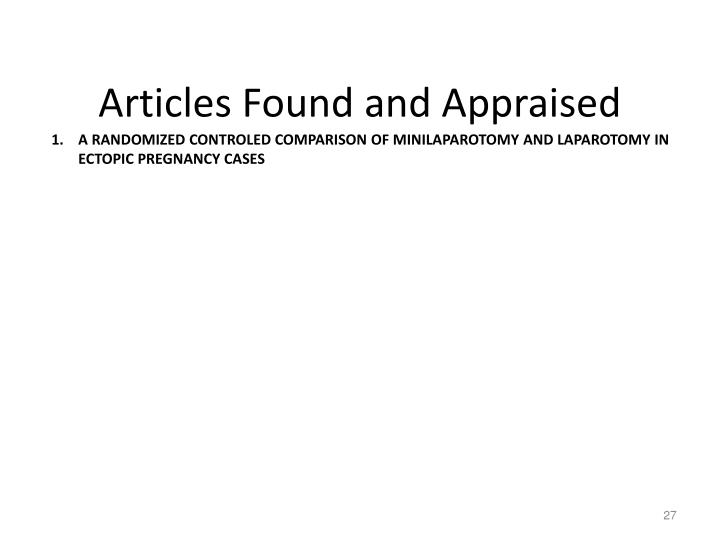 Articles Found and Appraised